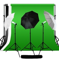 Photo Umbrella Continuous Lighting Black White Green Muslin Backdrop Stand Kit