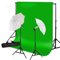 Photo Umbrella Lighting Kit Chroma Key Green Muslin Backdrop Kit