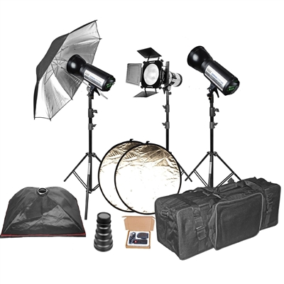 Pro 3 x 400 w/s complete studio package with backdrop & support