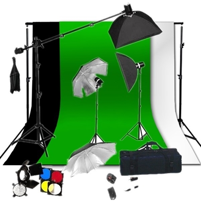 PHOTO 3-HEAD FLASH STROBE LIGHTING BOOM STAND SOFTBOX HAIR LIHGT KIT