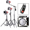 Dimmable 3 x 800W Red Head Light Continuous Boom Light Kit Photo Video Focus