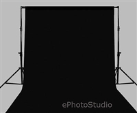 HIGH KEY BLACK 10'x20' Muslin Backdrop + Stand Support