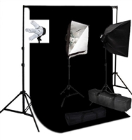 Photo 2000 W Video Continuous softbox lighting kit  black muslin backdrop stand