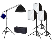 Pro Quick Setup Continuous 4- Head Studio Light Softbox Fluorecent Lighting Kit