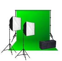 Pro Quick Setup Softbox Continuous Lighting 1000 watt Chromakey Backdrop kit