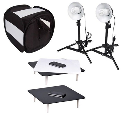 Pro Black Studio Light Photo Kit Combo Studio in a box Jewellery Tent Set