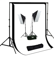 Pro 1600W Continuous Light Photo Softbox Fluorecent Video 10'x12' Backdrops Kit