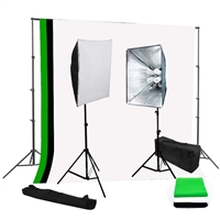 Photo Softbox 1600 watt Video Continuous Lighting kit B/W/G backdrop stand kit