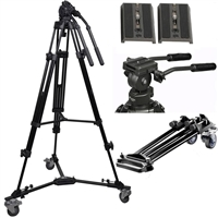 Pro heavy duty video camera tripod fluid drag pan head  2 plates dolly wheels