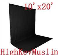 Pro HIGH KEY MUSLIN BLACK 10'x20' Backdrop Background