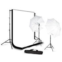 Photo Umbrella Lighting Kit Black White Muslin Backdrops Kit
