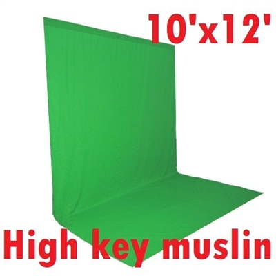 NEW High Key Muslin Chromakey Green 10'x12' Background
