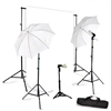 Photo 3 Head 900W Umbrella Lighting Kit Black Muslin Backdrop Stand Kit