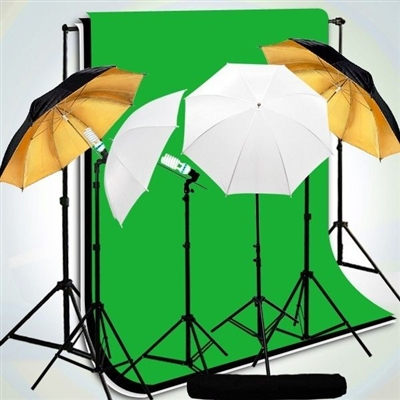 4-Head Black/Gold Reflective Umbrella Video Light Muslin Backdrops stand Kit