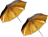 "Pro 2 x 33"" Gold / Black Reflective Photo Studio Umbrella"