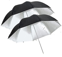 "Pro 2 x 33"" Silver / Black Reflective Photo Studio Umbrella"