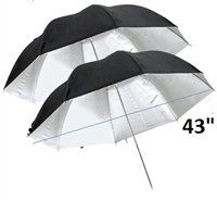 "Pro 2 x 43"" Silver / Black Reflective Photo Studio Umbrella"