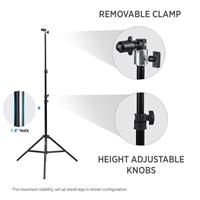 CanadianStudio Photo Studio 1x 8 ft heavy duty light stand & clamp for Pop Out Muslin Backdrop & Reflector Clip Stand Kit - Cast Metal clamp for Collapsible backdrop lightweight stand (stand with clamp only)