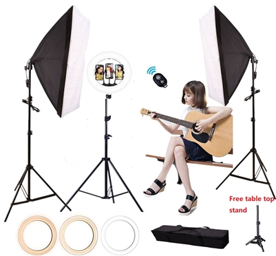 18 inch LED Ring Light with softbox lighting kit - CanadianStudio LED Camera Selfie Softbox Light Ring with iPhone Tripod and Phone Holder for Video Photography Makeup Live Streaming, Compatible with iPhone and Android Phone