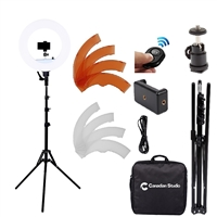 "Camera Photo/Video 14""Outer 12""Inner 36watt 5500K Ring Fluorescent Flash Light Stand Kit with Stand, Soft Tube,Color Filter,Hot Shoe Adapter,Bluetooth Receiver for Makeup,Camera Smartphone Youtube Video Shooting"
