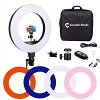 "Camera Photo/Video 18""Outer 14""Inner 75 Watt 5500K Ring Fluorescent Flash Light with Soft Diffuses, Cellphone Mount, Bluetooth Receiver, Ball Head, Hotshoe and Bag"