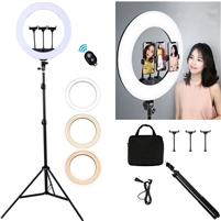 "Photography /Video 18""Outer 14""Inner 600W 5500K Dimmable Ring Fluorescent Flash Light kit with Soft diffuser, Stand, Hot Shoe Adapter,Bluetooth Receiver for Makeup,Camera Smartphone Youtube Video Shooting"