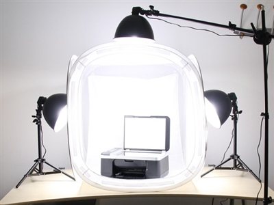 "1200 Watt Boom Stand STUDIO IN A BOX PHOTO LIGHT TENT PHOTOGRAPHY SET Continuous Light Kit, 32"" light tent with 4 pcs backdrops"