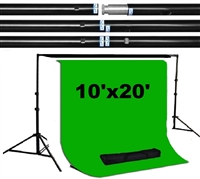 Pro 10ft x 10ft heavy duty backdrop support kit & 10ft x 20ft green muslin backdrop kit