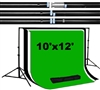 Heavy duty 10'x12' backdrop support kit with 10'x12' black/white/green backdrops