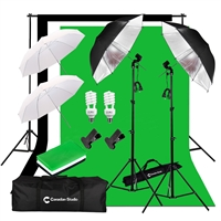 Photo Studio Continuous 2-Head Umbrella Lighting Light Black/White/Green High Key Muslin Backdrop Stand Kit