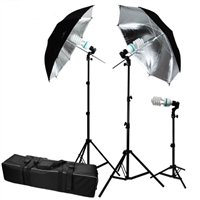 "New 3-HEAD PHOTO LIGHTING PHOTO STUDIO 40"" UMBRELLA LIGHT SET"