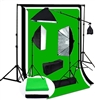 Pro Quick Setup Continuous Light Photo 1500 WATT OUTPUT Rapid Softbox Fluorecent Video lighting Boom backdrops Kit