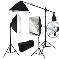 2500 W Video Photo Studio lighting Softbox light kit with 3 light stands, 1 boom kit, 10 x 45W/ 1x 135W 5500K light bulbs, 3 softboxes and carrying case