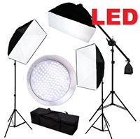 CanadianStudio Pro Continuous 3-head LED Lighting Kit 3 x 144PCS 5500K LED beads Softbox Studio boom arm Light Stand Kit