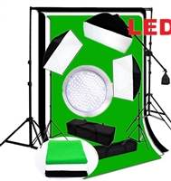 Pro Continuous 3-head LED Lighting Kit 3 x 144PCS 5500K LED beads Softbox Studio boom arm Light Stand backdrops Kit
