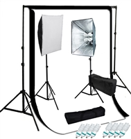 NEW 1600 watt photo studio softbox video lighting kit with 10'x12' muslin backdorp kit
