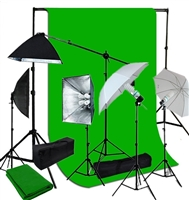 5 lights 4 socket softbox and umbrella lighting kit with 10ft x 12ft backdrop heavy duty support kit