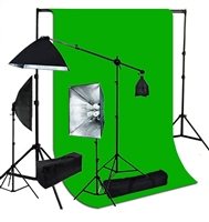 Photography Softbox 2400W Fluorescent video Continuous Boom Light black/white/green Backdrop Kit