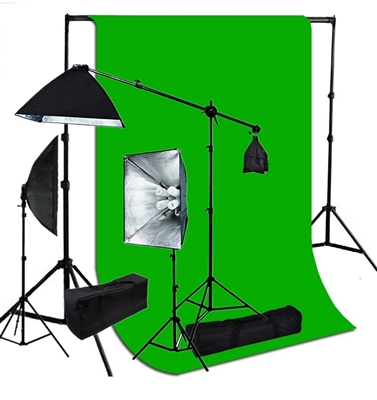 Photography Softbox 2400W Fluorescent video Continuous Boom Light  10 ft x 20 ft green Backdrop Kit