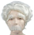 Albert Einstein Wig. Eyebrows & Moustache Set - Deluxe Wig