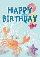 Cardooo Birthday Activity Card Under the Sea