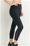 Rose Gold Zipper Capri Active Wear Leggings
