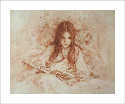 Gretchen Reading Lithograph By Richard Schmid
