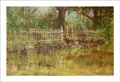 Iron Fence Lithograph by Richard Schmid