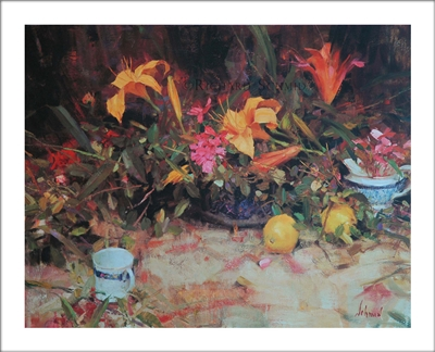 Lilies & Lemons Lithograph By Richard Schmid