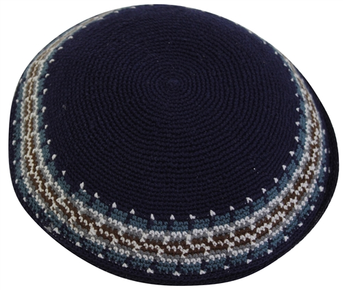 DMC Knit Kippot Navy Large With Design