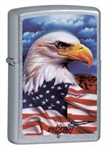 Zippo Lighter - American Eagle and Flag Street Chrome - 24764