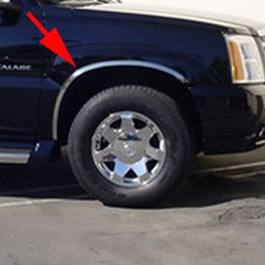 Cadillac Escalade Chrome Wheel Well Fender Trim, 2002, 2003, 2004, 2005, 2006