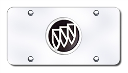 Buick License Plate - Chrome / Black Logo