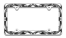 Chrome Tribal Style License Plate Frame